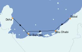 Itinéraire de la croisière Dubaï - Emirats 6 jours à bord du MSC Virtuosa