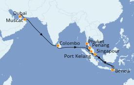 Itinéraire de la croisière Asie 22 jours à bord du Sapphire Princess