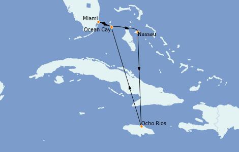 Itinéraire de la croisière Bahamas 7 jours à bord du MSC Meraviglia