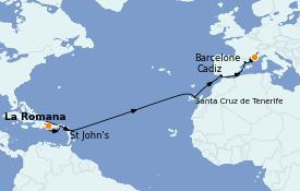 Itinéraire de la croisière Transatlantiques et Grands Voyages 2023 15 jours à bord du Costa Pacifica