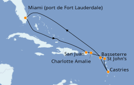 Itinéraire de la croisière Caraïbes de l'Est 10 jours à bord du Celebrity Apex