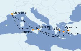 Itinéraire de la croisière Méditerranée 11 jours à bord du Jules Verne