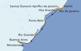Itinéraire de la croisière Amérique du Sud 11 jours à bord du Seven Seas Voyager