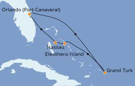 Itinéraire de la croisière Bahamas 6 jours à bord du Carnival Elation
