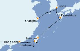 Itinéraire de la croisière Asie 9 jours à bord du Sapphire Princess