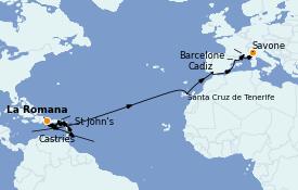 Itinéraire de la croisière Transatlantiques et Grands Voyages 2023 23 jours à bord du Costa Pacifica