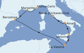 Itinéraire de la croisière Méditerranée 8 jours à bord du Seven Seas Mariner