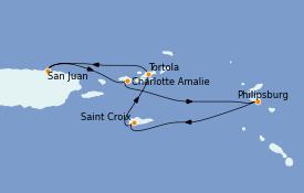Itinéraire de la croisière Caraïbes de l'Est 6 jours à bord du Voyager of the Seas