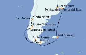 Itinéraire de la croisière Amérique du Sud 18 jours à bord du MS Marina