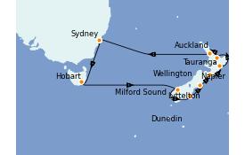 Itinéraire de la croisière Australie 2022 16 jours à bord du ms Oosterdam