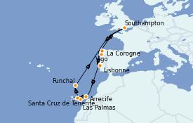 Itinéraire de la croisière Méditerranée 13 jours à bord du Anthem of the Seas