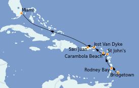 Itinéraire de la croisière Caraïbes de l'Est 9 jours à bord du Seabourn Ovation
