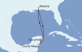 Itinéraire de la croisière Caraïbes de l'Ouest 6 jours à bord du Carnival Fantasy