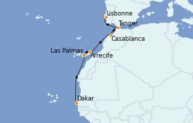 Itinéraire de la croisière Îles Canaries 12 jours à bord du MS World Explorer