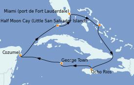 Itinéraire de la croisière Caraïbes de l'Ouest 9 jours à bord du ms Volendam
