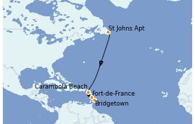 Itinéraire de la croisière Caraïbes de l'Est 11 jours à bord du Seabourn Venture