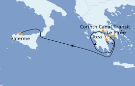 Itinéraire de la croisière Grèce & Adriatique 5 jours à bord du Le Bougainville
