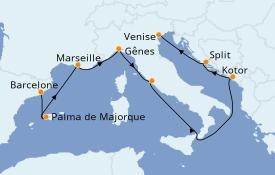 Itinéraire de la croisière Méditerranée 9 jours à bord du MSC Opera