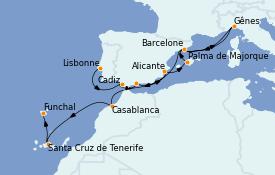 Itinéraire de la croisière Méditerranée 14 jours à bord du MSC Poesia