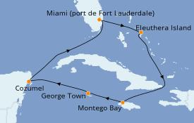Itinéraire de la croisière Caraïbes de l'Ouest 8 jours à bord du Caribbean Princess