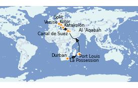 Itinéraire de la croisière Transatlantiques et Grands Voyages 2022 25 jours à bord du MSC Musica