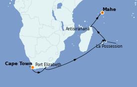 Itinéraire de la croisière Océan Indien 16 jours à bord du Silver Spirit