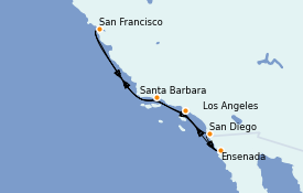Itinéraire de la croisière Californie 8 jours à bord du Ruby Princess