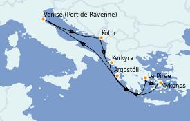 Itinéraire de la croisière Grèce & Adriatique 8 jours à bord du Brilliance of the Seas