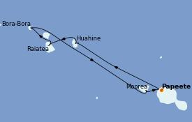 Itinéraire de la croisière Polynésie 8 jours à bord du Norwegian Spirit