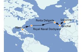 Itinéraire de la croisière Îles Canaries 13 jours à bord du Seven Seas Splendor