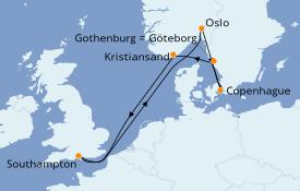 Itinéraire de la croisière Îles Britanniques 8 jours à bord du Grand Princess