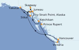 Itinéraire de la croisière Alaska 13 jours à bord du Coral Princess