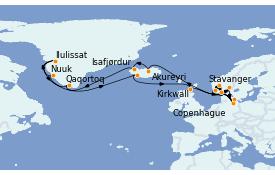 Itinéraire de la croisière Exploration polaire 29 jours à bord du MSC Poesia