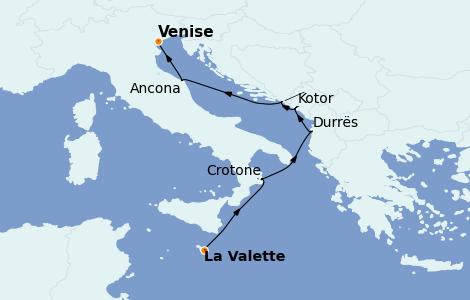 Itinéraire de la croisière Méditerranée 7 jours à bord du Nautica