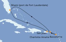 Itinéraire de la croisière Caraïbes de l'Est 8 jours à bord du Celebrity Apex