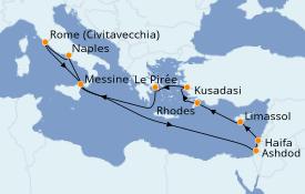 Itinéraire de la croisière Méditerranée 13 jours à bord du Jewel of the Seas