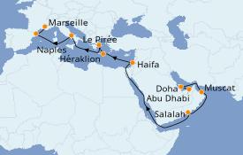 Itinéraire de la croisière Dubaï - Emirats 21 jours à bord du Costa Smeralda