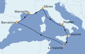 Itinéraire de la croisière Méditerranée 8 jours à bord du MSC Grandiosa