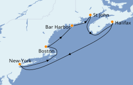 Itinéraire de la croisière Transatlantiques et Grands Voyages 2022 8 jours à bord du Norwegian Breakaway