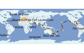 Itinéraire de la croisière Tour du Monde 2023 112 jours à bord du Island Princess