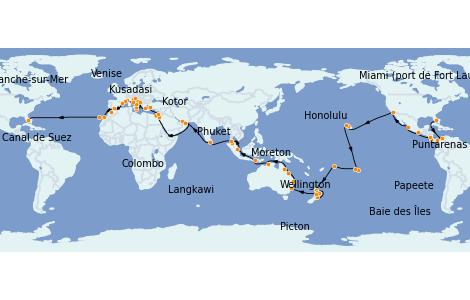 Itinéraire de la croisière Tour du Monde 2023 111 jours à bord du Island Princess