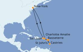 Itinéraire de la croisière Caraïbes de l'Est 11 jours à bord du Norwegian Gem