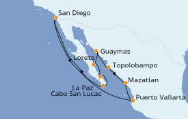 Itinéraire de la croisière Riviera Mexicaine 13 jours à bord du ms Maasdam