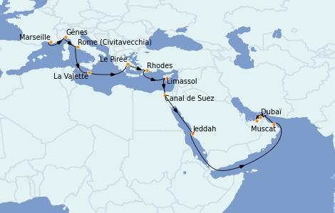Itinéraire de la croisière Transatlantiques et Grands Voyages 2021 20 jours à bord du MSC Virtuosa