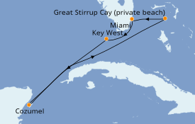 Itinerario de crucero Caribe del Oeste 6 días a bordo del Norwegian Sky