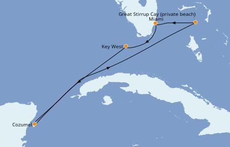 Itinéraire de la croisière Caraïbes de l'Ouest 5 jours à bord du Norwegian Sky