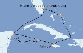 Itinéraire de la croisière Caraïbes de l'Ouest 8 jours à bord du ms Rotterdam