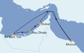 Itinéraire de la croisière Dubaï - Emirats 8 jours à bord du Jewel of the Seas