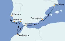 Itinéraire de la croisière Méditerranée 8 jours à bord du Nautica