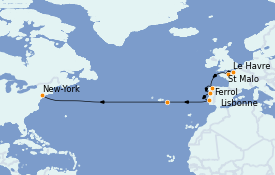 Itinéraire de la croisière Îles Canaries 15 jours à bord du MS Insignia